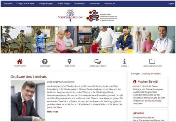 """Startseite der Online-Beteiligungsplattform zum Modellvorhaben """"Sicherung der Versorgung und Mobilität"""""""