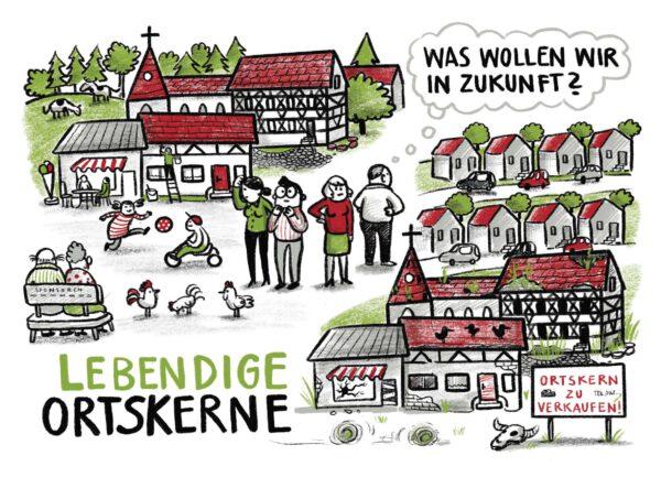 Postkarte als Werbung für Online-Beteiligung